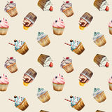Watercolor cupcake seamless pattern. For textile, wrapping paper, background, napkins, fabric, designs etc Stock Photography