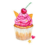 Watercolor cupcake. Watercolor cherry cupcake. Stock Photos