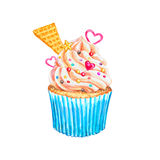 Watercolor cupcake. Watercolor vanilla cupcake. Royalty Free Stock Photos