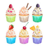 Watercolor cupcakes collection. Watercolor cupcakes set Royalty Free Stock Photos