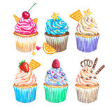 Watercolor cupcakes collection. Watercolor cupcakes set Stock Images