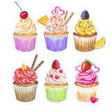 Watercolor cupcakes collection. Watercolor cupcakes set. Different type of cupcakes. Hand drawn watercolor cupcake with decoration, cream and berries. Sweet Royalty Free Stock Photography