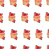 Watercolor cupcakes seamless pattern. Hand drawn background.Cupcake with juicy berries, strawberry,blackberry royalty free illustration