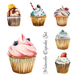 Watercolor cupcakes set, isolated. Watercolor cupcakes set with different tipe of cupcakes strawberry, blueberry, chocolate. citrus, raspberry. Isolated. Easy to Royalty Free Stock Photo