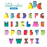 Watercolor cute alphabet. Colorful hand drawn letters. For your design. ABC.  for your design. ABC. Vector symbols Royalty Free Stock Photography