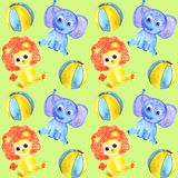 Watercolor cute animals elephant, lion and balls seamless pattern vector illustration