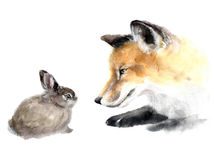 Watercolor cute animals. Very nice cute watercolor fox with rabbit. Animal silhouette watercolor sketch. Wildlife art illustration. Watercolor graphic for fabric Stock Image