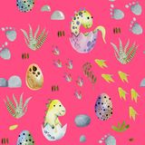Watercolor cute baby dinosaurs in eggs seamless pattern. Hand painted on a pink background stock photography