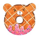 Watercolor Bear Donuts on white background with clipping-path for decorative and design, pattern , packaging stock illustration