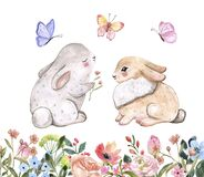 Watercolor cute bunnies and spring flowers illustration. Easter card design, valentines day theme