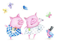 Watercolor  cute card with funny piglets and bird. Hand drawn watercolor image of fanny piglets. The author is Ekaterina Mikheeva, date of creation - December Royalty Free Stock Images