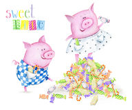 Watercolor cute card with funny piglets. Hand drawn watercolor image of fanny piglets. The author is Ekaterina Mikheeva, date of creation - December, 2015 Vector Illustration