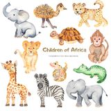 Watercolor cute cartoon African animals. Illustration with animals for cards, invitations, logos, baby shower, prints, travels vector illustration