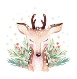 Watercolor cute cartoon deer animal portrait design. Winter holiday card on white background. New year fawn decoration
