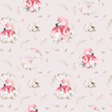 Watercolor cute cartoon little baby and mom flamingo with floral wreath seamless pattern. tropical fabric background