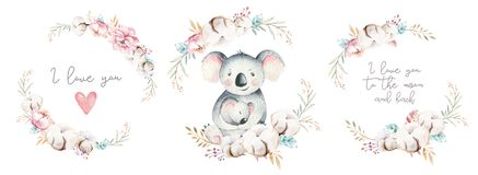 Watercolor cute cartoon little baby and mom koala with floral wreath. Isolated tropical illustration. Mother and baby