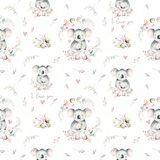 Watercolor cute cartoon little baby and mom koala with floral wreath seamless pattern. tropical fabric background