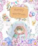 Watercolor cute Cartoon Owl. Cute baby greeting card. Boho flowers and floral bouquets Happy Birthday set. Watercolor greeting. Baby card on white background stock illustration