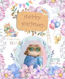 Watercolor cute Cartoon Owl. Cute baby greeting card. Boho flowers and floral bouquets Happy Birthday set. Watercolor greeting. Baby card on white background royalty free illustration