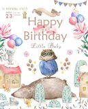 Watercolor cute Cartoon Owl. Cute baby greeting card. Boho flowers and floral bouquets Happy Birthday set. Watercolor. Greeting baby card on white background stock illustration