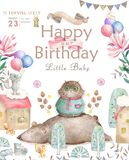 Watercolor cute Cartoon Owl. Cute baby greeting card. Boho flowers and floral bouquets Happy Birthday set. Watercolor. Greeting baby card on white background royalty free illustration
