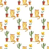 Watercolor cute cat and cactus and flower pots pattern royalty free illustration