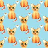 Watercolor cute cat seamless pattern on blue bacground stock photos