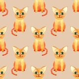 Watercolor cute cat seamless pattern on brown bacground stock image