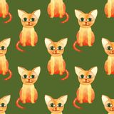 Watercolor cute cat seamless pattern on green bacground stock photos