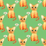 Watercolor cute cat seamless pattern on green bacground royalty free stock photos