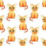 Watercolor cute cat seamless pattern on white bacground royalty free stock image