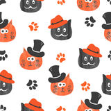 Watercolor cute cats seamless pattern in black and orange. Royalty Free Stock Photo