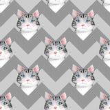 Watercolor cute cats. Seamless pattern 3. Seamless pattern with cartoon watercolor cats Stock Photo