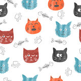 Watercolor cute cats seamless pattern. Vector background with funny cat heads Stock Image