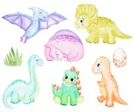 Watercolor cute dinosaurs set isolated on white background