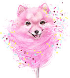 Watercolor Cute dog illustration. Stock Photo