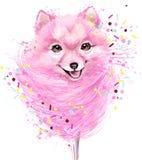 Watercolor Cute dog illustration. Stock Photo