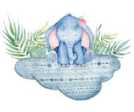 Watercolor cute elephant sitting on the cloud animal illustration. Watercolor cute elephant sitting on the cloud animal hand drawn illustration royalty free illustration