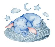 Watercolor cute elephant sleeping on the cloud animal illustration. Watercolor cute elephant sleeping on the cloud animal hand drawn illustration royalty free illustration