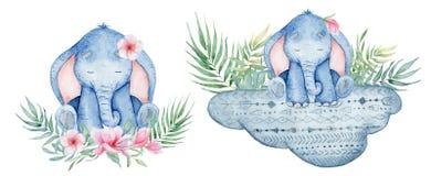 Watercolor cute elephants set animal illustration. Watercolor cute elephants set  animal hand drawn illustration vector illustration