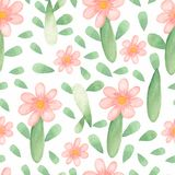 Watercolor cute floral pattern. Seamless pattern with pink flowers and green leaves on white background. Trendy Cartoon style for royalty free illustration