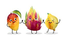 Watercolor cute fruit characters. Royalty Free Stock Image