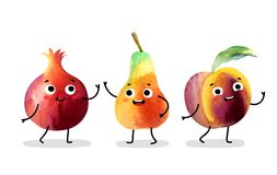 Watercolor cute fruit characters. Royalty Free Stock Images