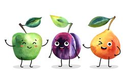 Watercolor cute fruit characters. Vector illustration stock illustration