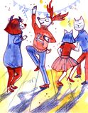 Watercolor cute funny animals danse at New year disco. Bright colorful illustration. Watercolor cute funny animals danse at New year disco. Bright illustration stock illustration