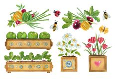 Watercolor cute gardening illustration.