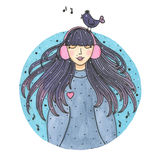 Watercolor cute girl with long hair in headphones and bird on head isolated on white background Royalty Free Stock Photos