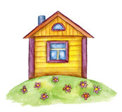 Watercolor cute house Stock Photography