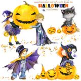 Watercolor cute kids in colorful halloween costumes. Happy Halloween. royalty free illustration