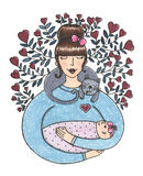 Watercolor cute mother with baby illustration. Watercolor cute mother with baby in her arms and cat on neck around flowers of hearts. Card illustration perfect Stock Photo